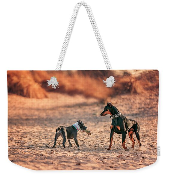Pitbull And Doberman Weekender Tote Bag