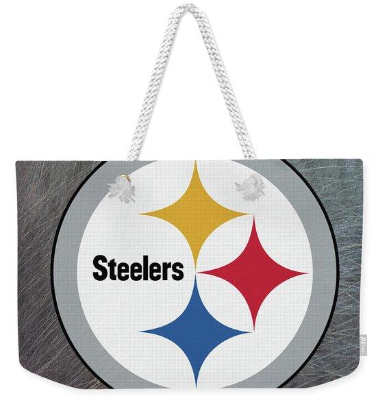 Pittsburgh Steelers On An Abraded Steel Texture Weekender Tote Bag