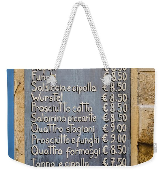 Pizza Menu Florence Italy Weekender Tote Bag