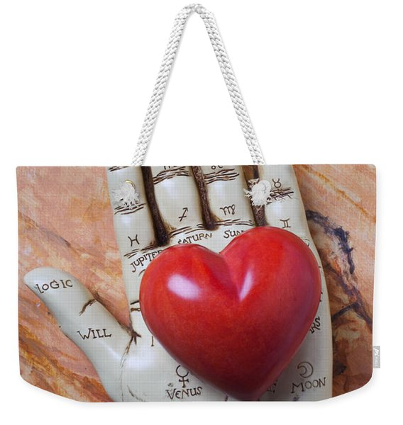 Plam Reader Hand Holding Red Stone Heart Weekender Tote Bag
