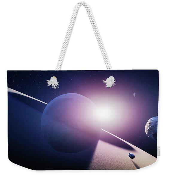Planet Saturn Sunrise Weekender Tote Bag