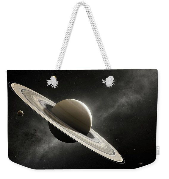 Planet Saturn With Major Moons Weekender Tote Bag