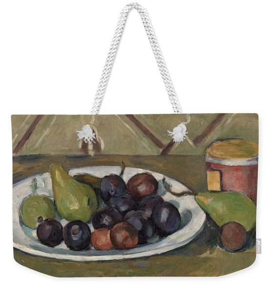 Plate With Fruit And Pot Of Preserves Weekender Tote Bag