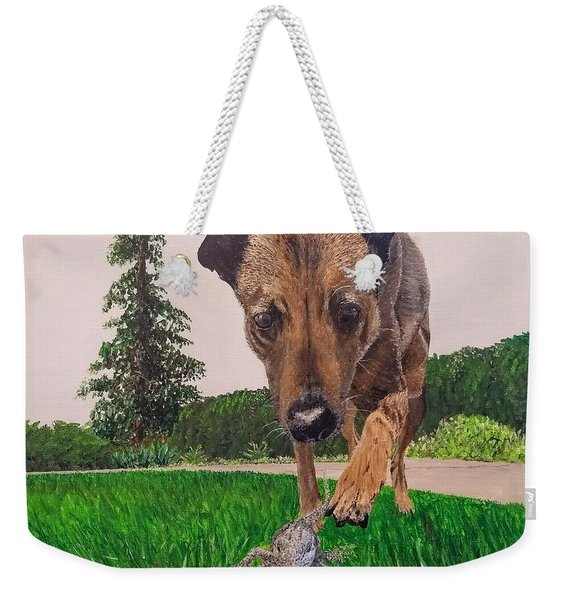 Weekender Tote Bag featuring the painting Play With Me by Kevin Daly