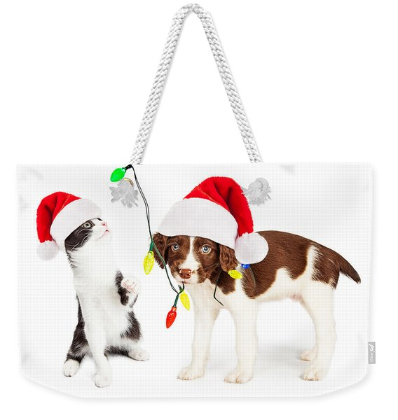 Playful Christmas Kitten And Puppy Weekender Tote Bag