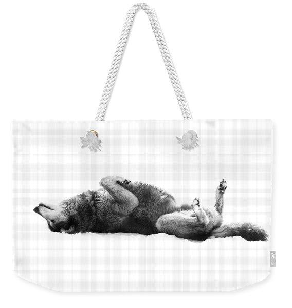 Playful Gray Wolf Photo Weekender Tote Bag