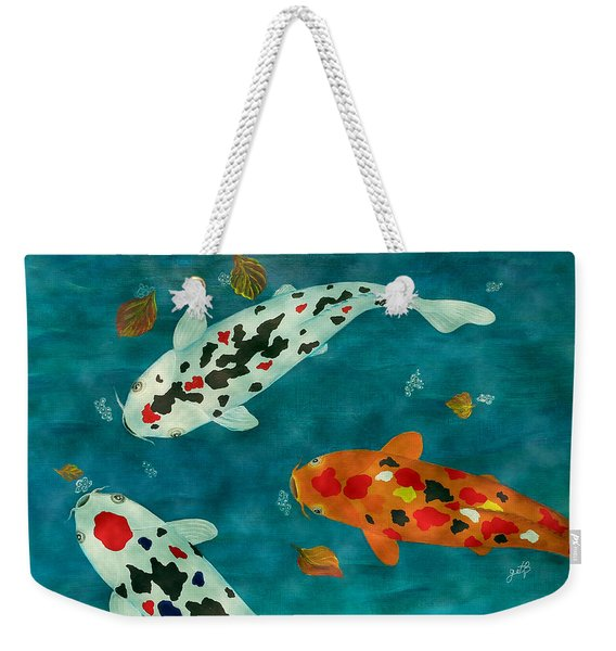 Playful Koi Fishes Original Acrylic Painting Weekender Tote Bag