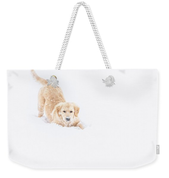 Playful Puppy In So Much Snow Weekender Tote Bag