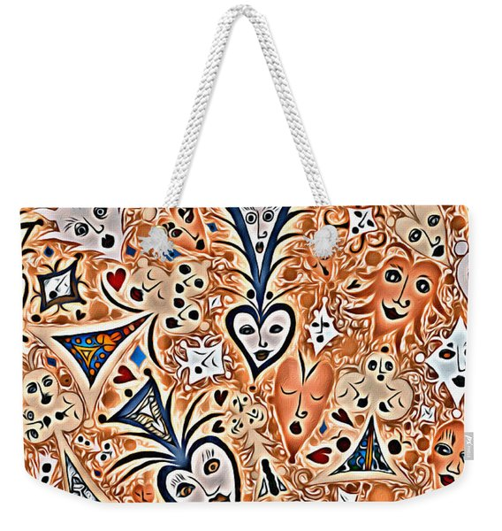 Playing Card Symbols With Faces In Rust Weekender Tote Bag
