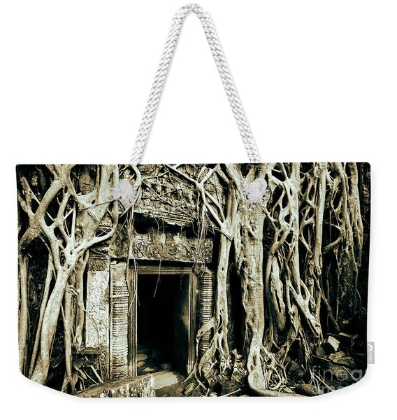 Weekender Tote Bag featuring the photograph Playing Indiana Jones At Ta Prohm Temple, Angkor Archaeological Park, Cambodia, Southeast Asia by Sam Antonio Photography
