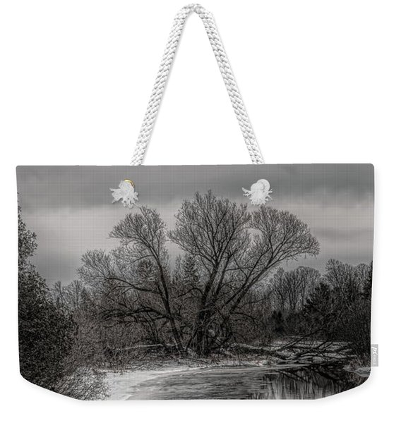 Plover River Black And White Winter Reflections Weekender Tote Bag