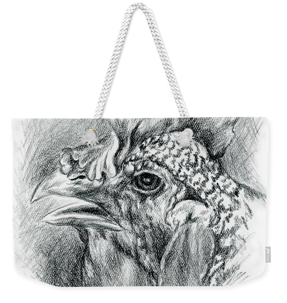 Plymouth Barred Rock Hen In Charcoal Weekender Tote Bag