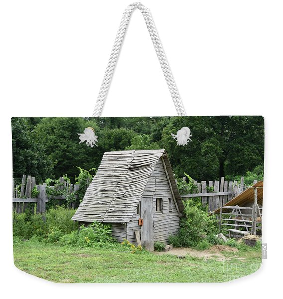 Plymouth's Rustic Wooden Chicken Coop For Roosting Chickens Weekender Tote Bag