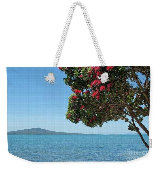 Pohutukawa Tree In Bloom With Rangitoto Island Weekender Tote Bag