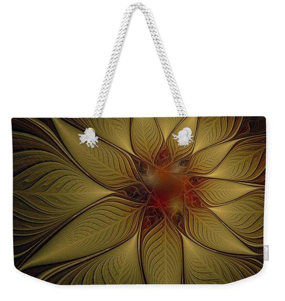 Poinsettia In Gold Weekender Tote Bag