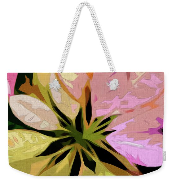 Weekender Tote Bag featuring the digital art Poinsettia Tile by Gina Harrison