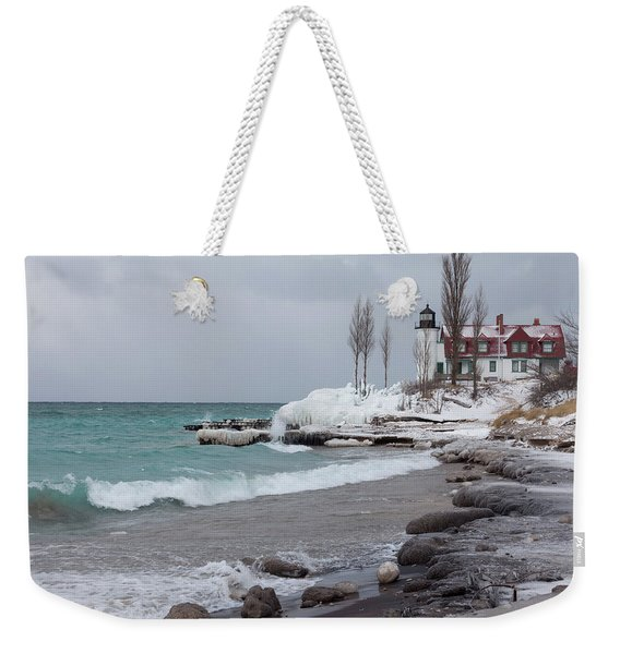 Winter At Point Betsie Lighthouse Weekender Tote Bag