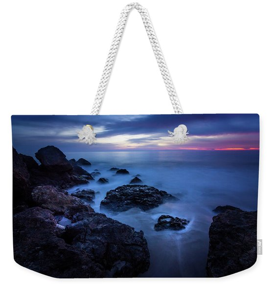 Weekender Tote Bag featuring the photograph Point Dume Rock Formations by Andy Konieczny