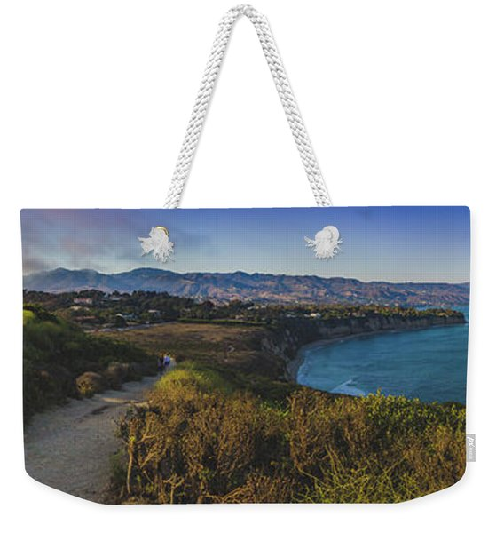 Weekender Tote Bag featuring the photograph Point Dume Sunset Panorama by Andy Konieczny