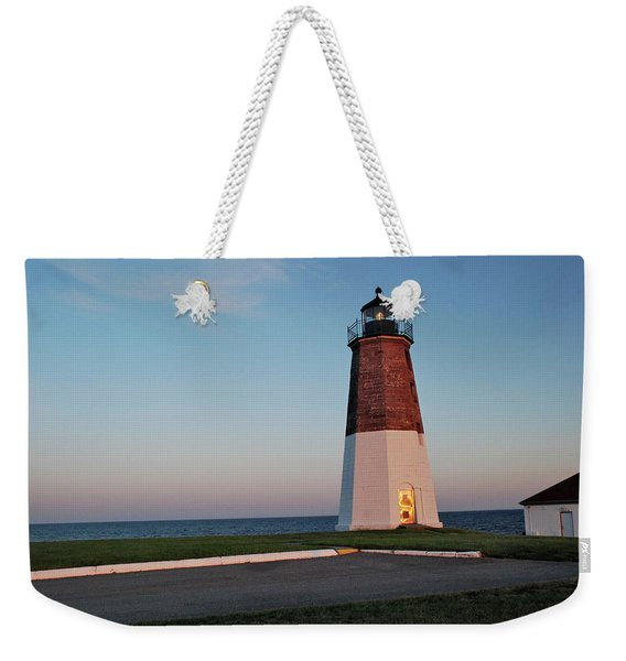 Weekender Tote Bag featuring the photograph Point Judith Lighthouse Rhode Island by Nancy De Flon