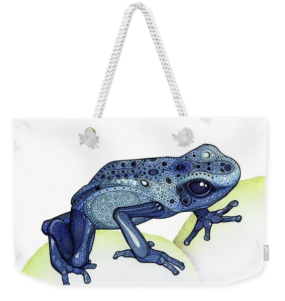 Weekender Tote Bag featuring the drawing Poison Dart Frog by ZH Field