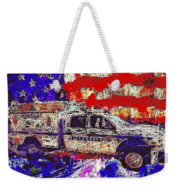 Weekender Tote Bag featuring the mixed media Police Truck by Al Matra