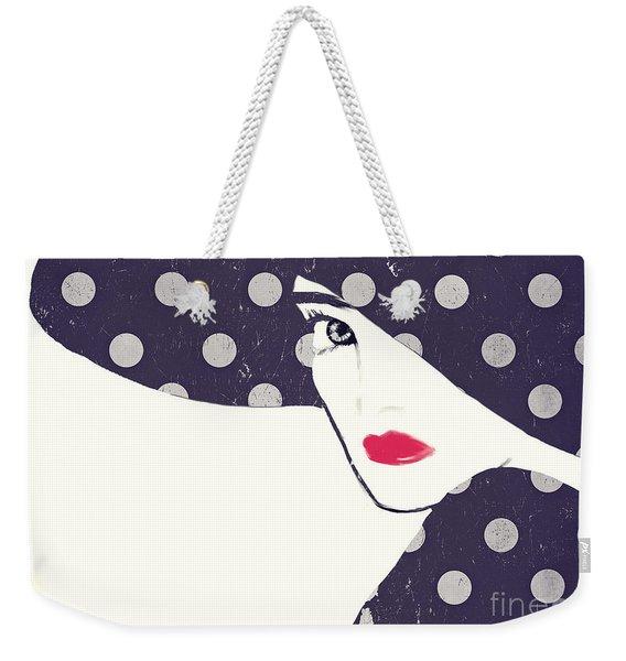 Polka Dot Fashion Hat Weekender Tote Bag