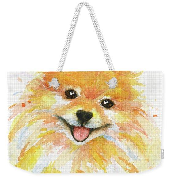 Happy Pomeranian Weekender Tote Bag