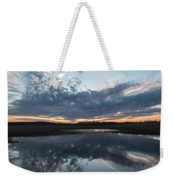 Pond And Sky Reflection3a Weekender Tote Bag