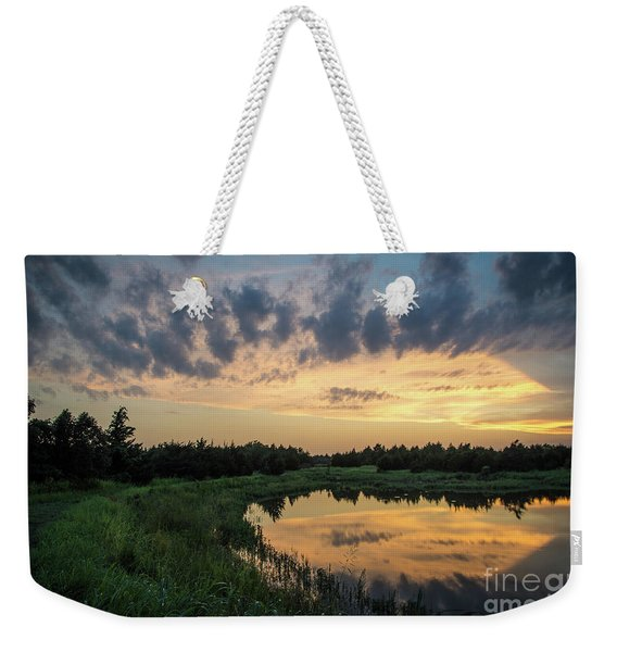Pond And Sunset Weekender Tote Bag