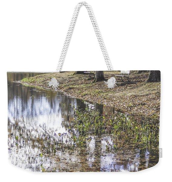 Pond Bench Ponderings Weekender Tote Bag