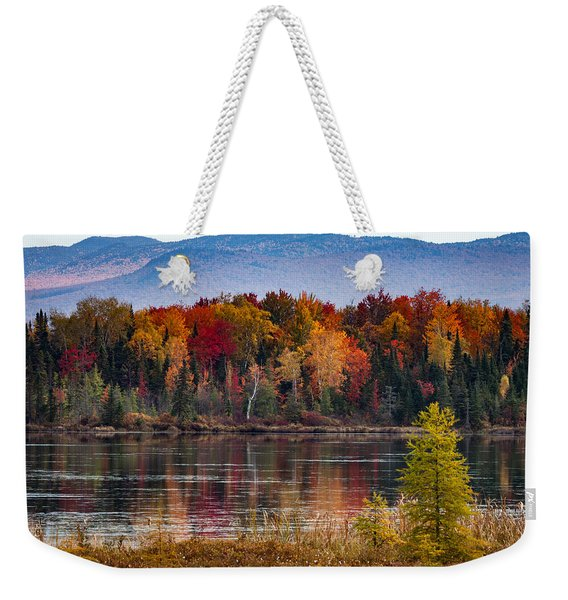 Weekender Tote Bag featuring the photograph Pondicherry Fall Foliage Reflection by Jeff Folger