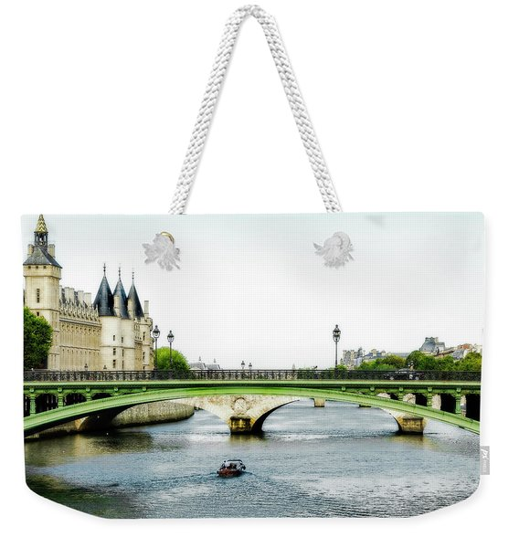 Pont Au Change Over The Seine River In Paris Weekender Tote Bag