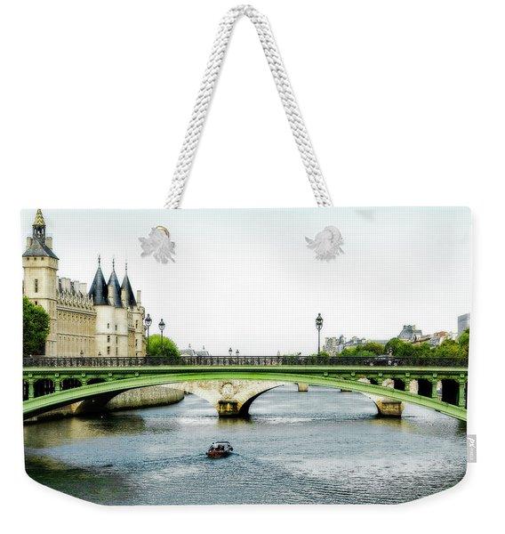 Pont Au Change Over The Seine River In Paris Weekender Tote Bag