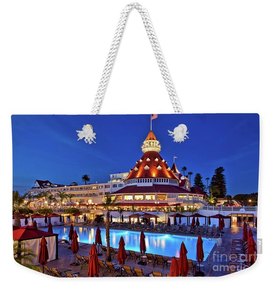 Weekender Tote Bag featuring the photograph Poolside At The Hotel Del Coronado  by Sam Antonio Photography