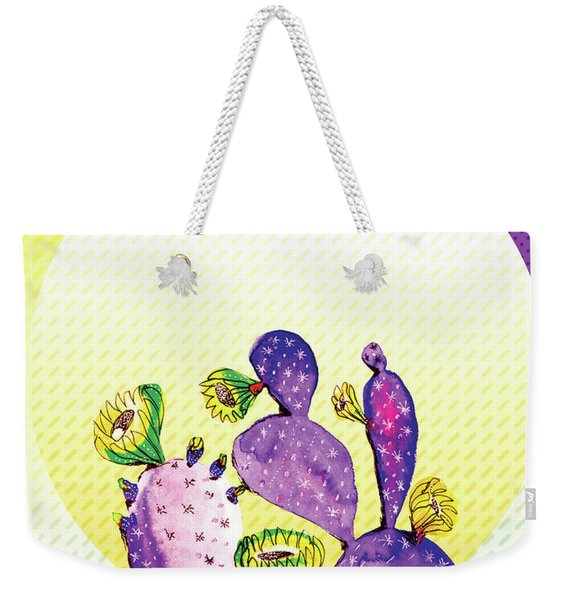 Pop Cacti - Purple Yellow Weekender Tote Bag