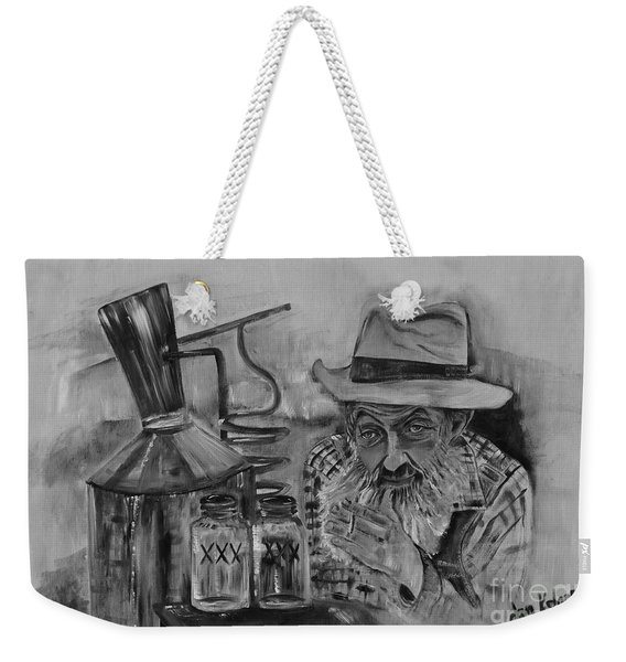 Popcorn Sutton - Black And White - Waiting On Shine Weekender Tote Bag