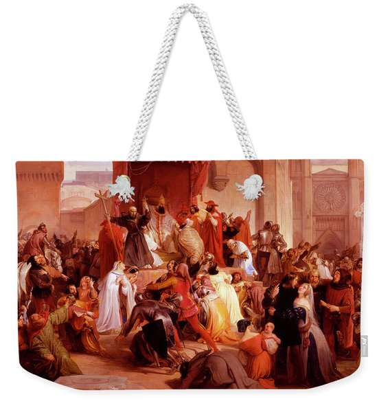 Pope Urban II Preaching The First Crusade In The Square Of Clermont Weekender Tote Bag
