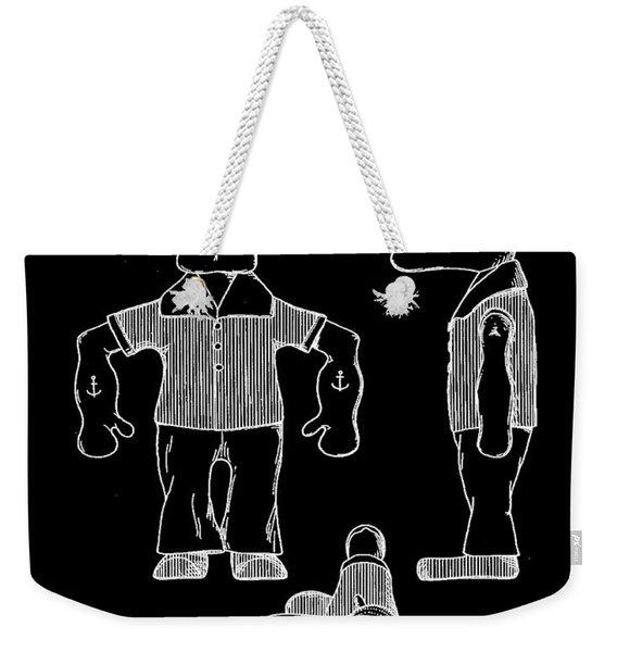 Popeye Doll Patent 1932 In Black Weekender Tote Bag