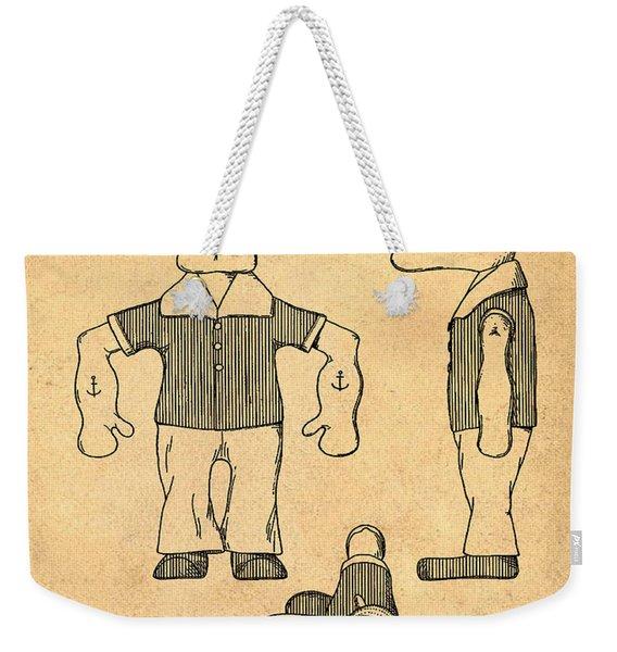 Popeye Doll Patent 1932 In Sepia Weekender Tote Bag