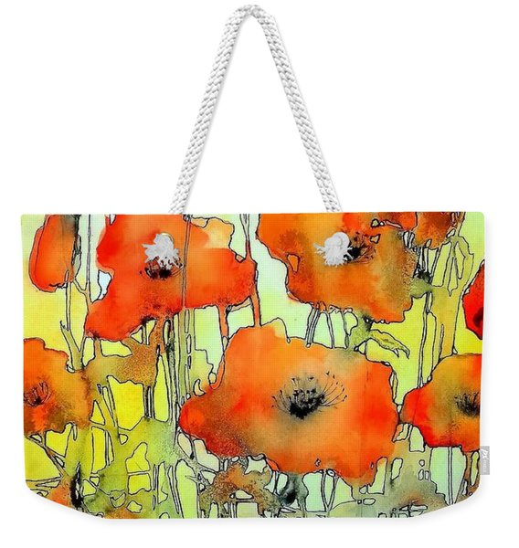 Poppies Abstraction Weekender Tote Bag