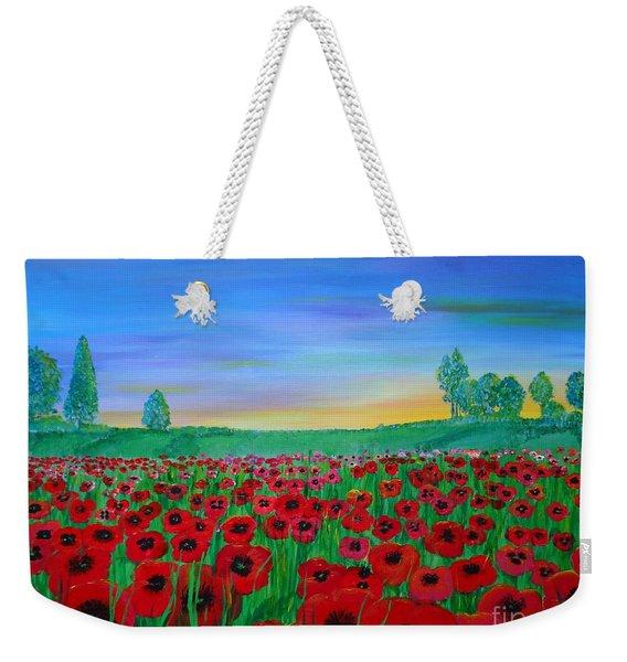 Poppy Field At Sunset Weekender Tote Bag