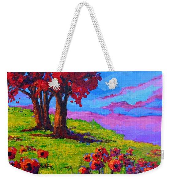 Poppy Field Modern Landscape Colorful Palette Knife Work  Weekender Tote Bag