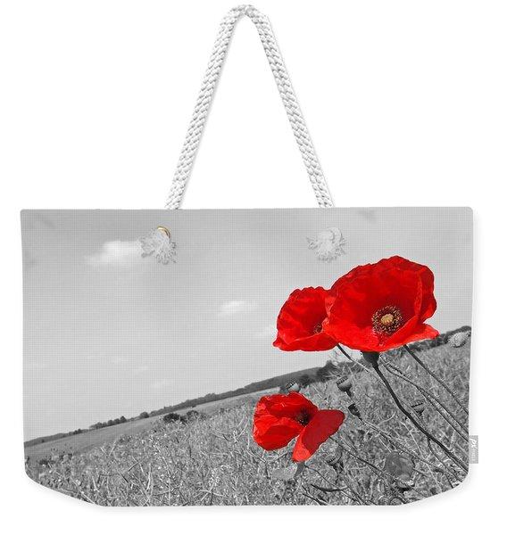 Poppy Fields 2 Black And White Weekender Tote Bag