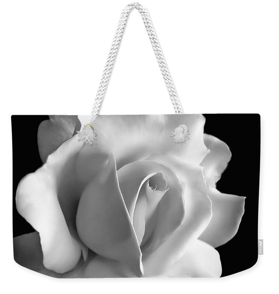 Porcelain Rose Flower Black And White Weekender Tote Bag