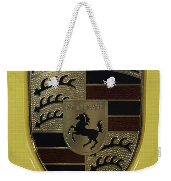 Porsche Emblem On Racing Yellow Weekender Tote Bag