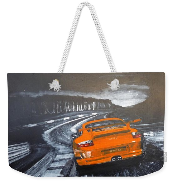 Weekender Tote Bag featuring the painting Porsche Gt3 @ Le Mans #3 by Richard Le Page