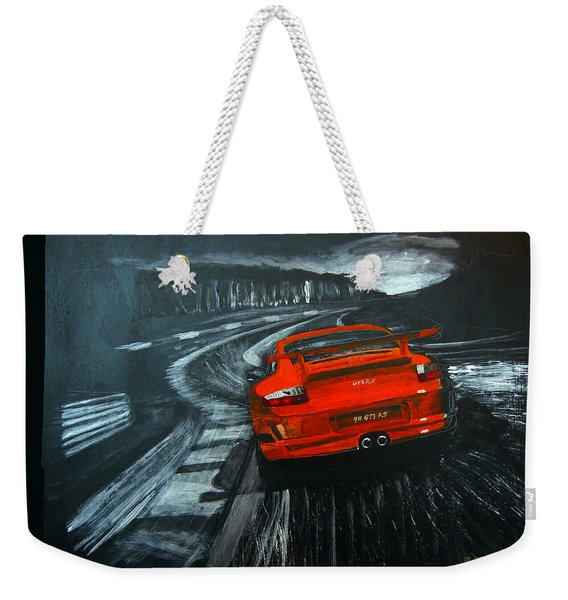 Weekender Tote Bag featuring the painting Porsche Gt3 Le Mans by Richard Le Page