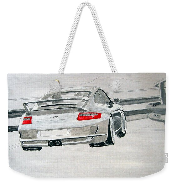 Weekender Tote Bag featuring the painting Porsche Gt3 by Richard Le Page