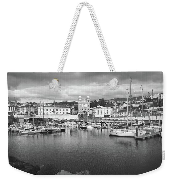 Port Of Angra Do Heroismo, Terceira Island, The Azores In Black And White Weekender Tote Bag